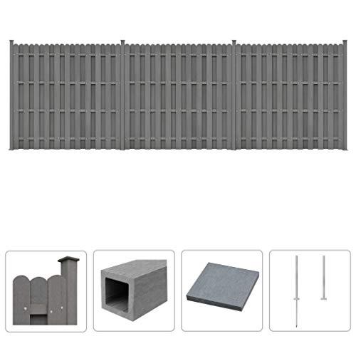 Festnight WPC Zaun-Set | Zaunpaneel-Set | Gartenzaun | Sichtschutzzaun | Dichtzaun | Zaunelemente | Windschutz Zaun | Grau 3 Quadratelemente 562 x 185 cm