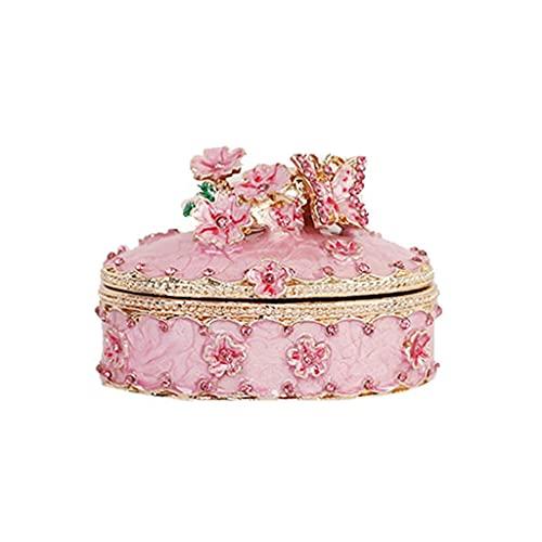 QUNHU Exquisitas artesanías de Metal, Caja de Almacenamiento de Joyas, Flores de Cerezo artesanía de aleación de Zinc for niñas hogar (Color : Pink)