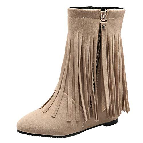 Birdsight Damen Fransen Stiefeletten High Heels Keilabsatz Wedges Ankle Boots mit Reißverschluss 7cm Absatz Kurzschaft Winter Boots (Beige,35)