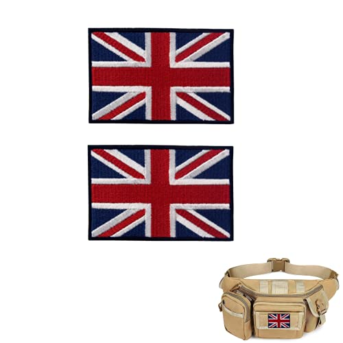 2 Pack Tactical Patch of British Union Jack Flag Embroidered UK Patch Hook and Loop for Military Patches Jackets Tactical Backpack Hats Jacket Pants Logo Blue Red