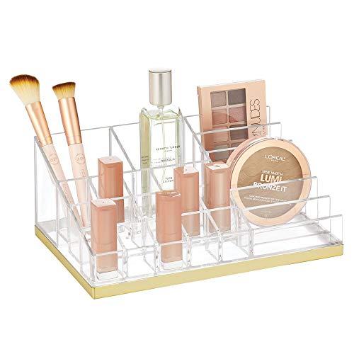 mDesign Práctico organizador de maquillaje – Decorativa caja para guardar cosméticos como esmaltes de uñas o polveras – Expositor de maquillaje con 17 compartimentos – transparente/dorado latón