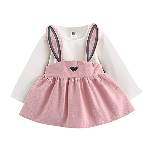 YWLINK Herbst Lange ÄRmel SüßEs MäDchen Kaninchen Verbandanzug Mini Kleiden Baby Kinder Kleinkind Hochzeit Freizeit Overall Kleid 0-3 Jahre Alt(Rosa,100)