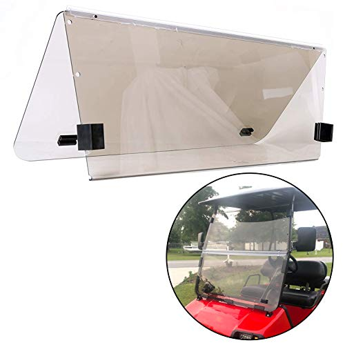 ECOTRIC Smoke Fold Down Tinted Style Windshield Compatible with Club Car DS | 2000.5 to Current | Impact Resistant Windshield for DS Gas or Electric Golf Cart(Fits 2000.5-Up)…