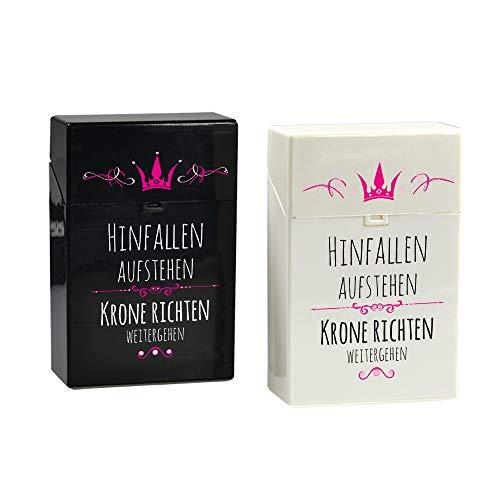 creativgravur® Click Zigaretten Box - Prinzessin Hinfallen Aufstehen Krone richten weitergehen, Farbe:Weiß