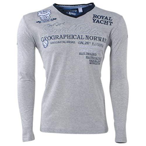 Geographical Norway Herren JERSOZON Men LS Langarmshirts, Grau (Blended Grey), Large