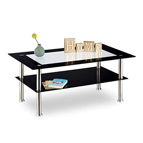 Relaxdays Negro, 100 x 60 x 42 cm Mesa Centro Cristal Baja con 2 Niveles, Vidrio y Acero Inoxidable Transparente
