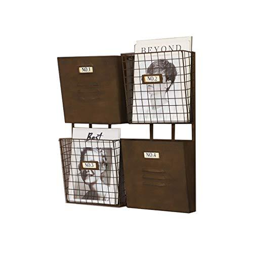 ZCF Zeitungsregal an Der Wand, Metall Casual Chic File Storage Bag Große Größe Schräg Plug-In Organizer für Die Dateiverwaltung