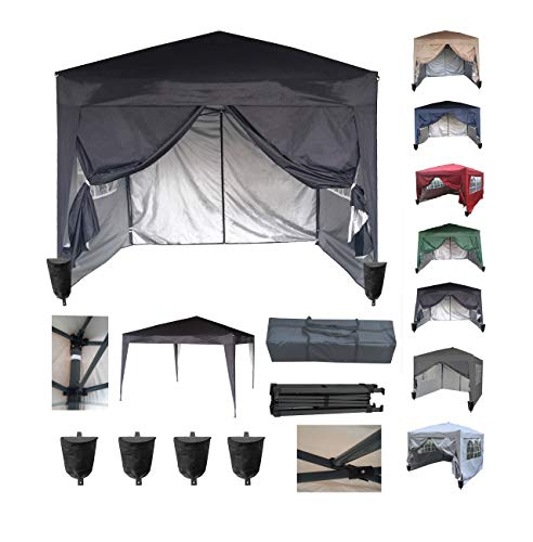 MCC@home 3x3m Waterproof Pop-up Gazebo with Silver Protective Layer Marquee Canopy WS (Black)
