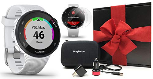Garmin Forerunner 45S (White, Small) Gift Box Bundle   +PlayBetter HD Screen Protectors (x4), USB Adapters & Hard Case   Accurate, Simple GPS Running Watch, Garmin Coach