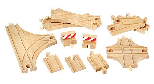 BRIO World 33307 Schienen- und Weichensortiment – 11 Weichen aus Buchenholz für die BRIO Holzeisenbahn – Empfohlen für Kinder ab 3 Jahren