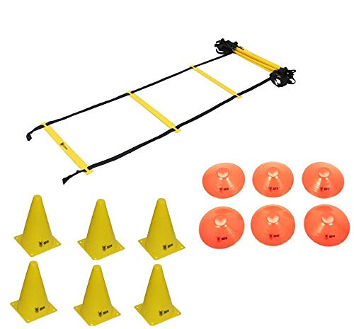 Kit Funcional Escada Agilidade Pvc 6 Cones 6 Chapeu Half