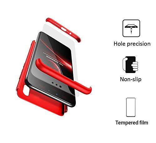 BESTCASESKIN Funda Compatible con Xiaomi Mi A2, Carcasa Móvil de Protección de 360° 3 en 1 Desmontable con HD Protector de Pantalla Caso Case Cover [Anti Huellas Dactilares] Rojo: Amazon.es: Electrónica