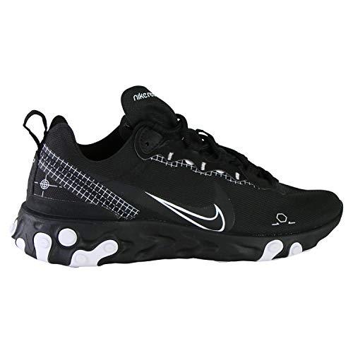 Nike React Element 55, Chaussure de Course Homme, Black/White, 44 EU