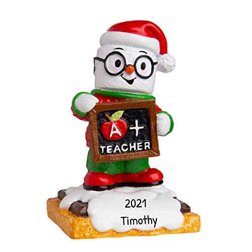 Personalized Marshmallow Teacher Christmas Tree Ornament 2020 - Snow-Man Blackboard Gift New College World's High Profession A+ World's First Year Middle Faculty S'More Tradition - Free Customization