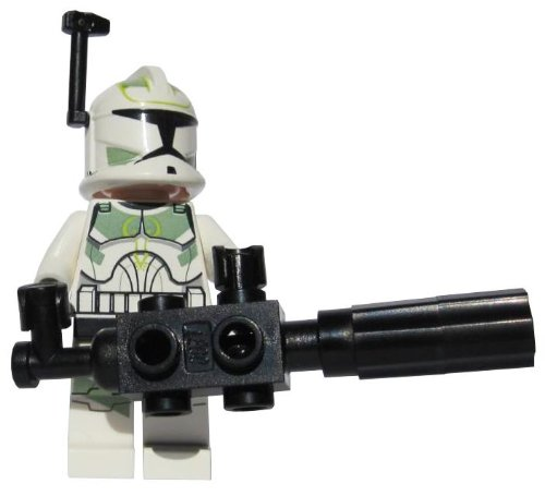 Clone Commander Green Leader (With Chaingun) - LEGO Star Wars Clone Wars Minifigure with Helmet Rangefinder and Rotary Chaingun Blaster