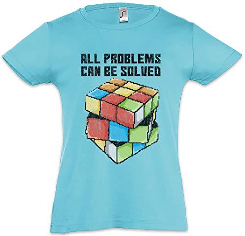 Urban Backwoods All Problems Can Be Solved Camiseta para Niñas Chicas niños T-Shirt Azul Talla 12 Años