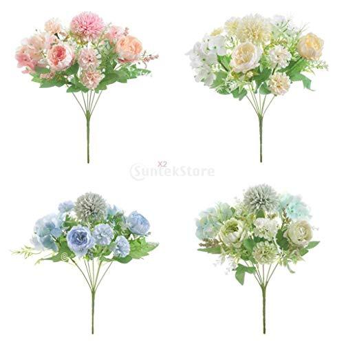 PETSOLA Ramo De Flores De Peonía De Seda Artificial De 5x7 Cabezas para Decoración De Boda De Jardín