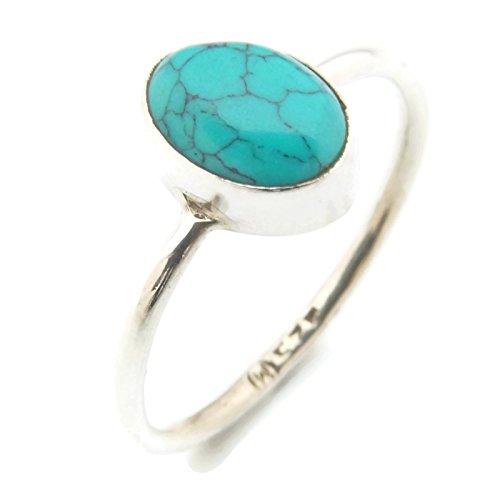 Türkis Ring 925 Silber Sterlingsilber Damenring blau grün (MRI 100-15), Ringgröße:60 mm/Ø 19.1 mm