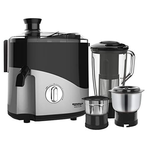 Maharaja Whiteline Odacio Plus 550-Watt Juicer Mixer Grinder with 3 Jars (Black/Silver)