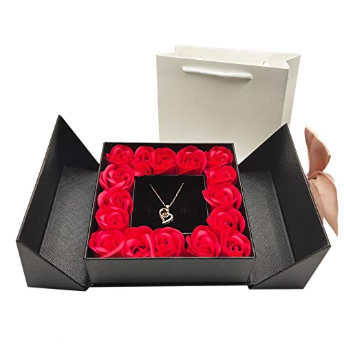 Eternal Real Rose Gift Box with Heart Design Necklace 100 Languages Love You, Forever Flower for Her, Romantic Birthday Gift, Anniversary, Mother's Day, Valentine's Day, Christmas (Black Box, Heart)
