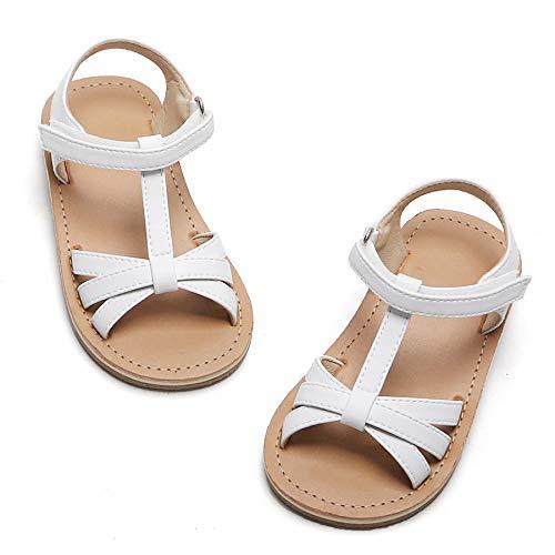 Toddler Girl White Sandals - Little Kids Easter Dress Shoes Size 6 for Summer Flower Girl Party Wedding School Flats