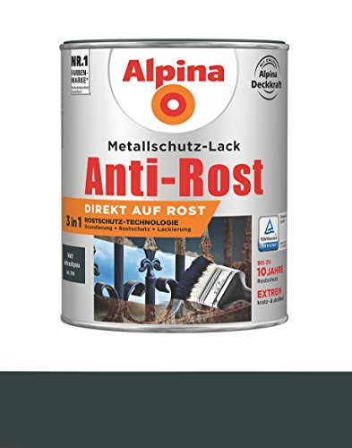 Alpina 750 ml Metallschutz-Lack, 3in1 Direkt auf Rost, RAL 7016 Anthrazitgrau Matt