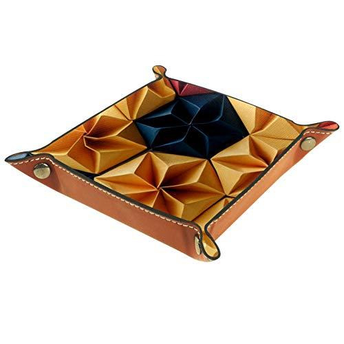 ASDFSD Abstract Origami Dobbellade, opvouwbare lade PU lederen Dobbellade houder voor RPG Dobbelspel en andere bordspel tafelspelen