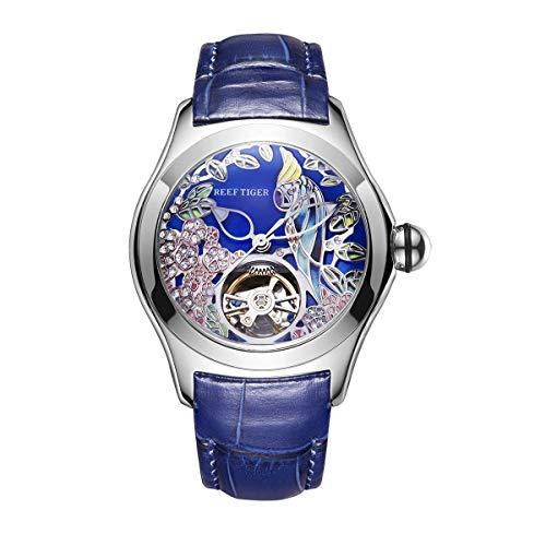 REEF TIGER Damen Uhr analog Automatik mit Leder Armband ORGA7105-YLL