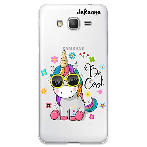 dakanna Funda para Samsung Galaxy Grand Prime | Unicornio con Gafas Frase: Be Cool | Carcasa de Gel Silicona Flexible | Fondo Transparente