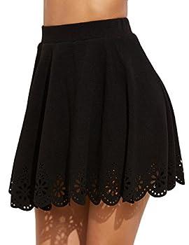 SheIn Women s Basic Solid Cutout Scallop Hem Flared Mini Skater Skirt Medium Black