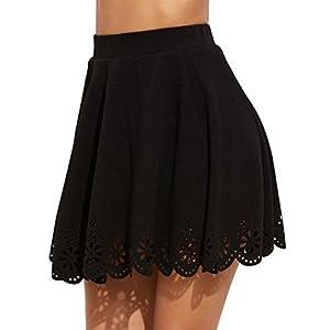 SheIn Women's Basic Solid Cutout Scallop Hem Flared Mini Skater Skirt