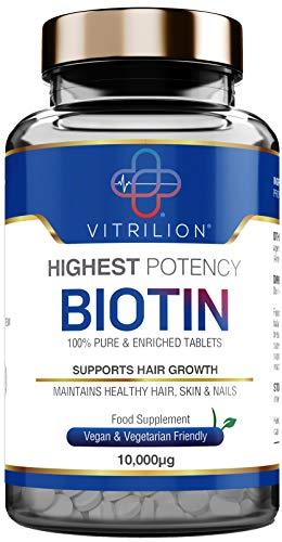 Biotin Tablets for Hair Growth 10,000mcg | 180 Vegan Tablets (6 Months...