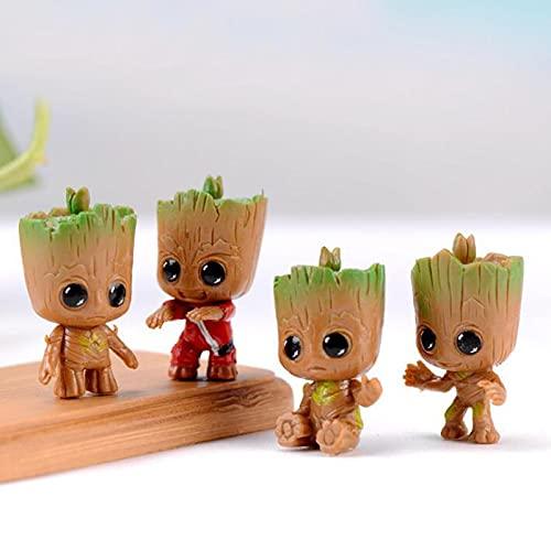 hongruida 4 unids/set Marvel Guardianes de la galaxia Vengadores pequeño lindo bebé árbol hombre modelo figura juguetes 5 cm