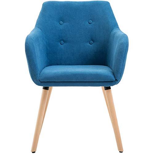 Certeo Besucherstuhl Westwood, blau - Besprechungsstuhl mit gepolsterten Armlehnen - Freischwinger mit Stoffbezug - Schreibtischstuhl mit Holz-Gestell