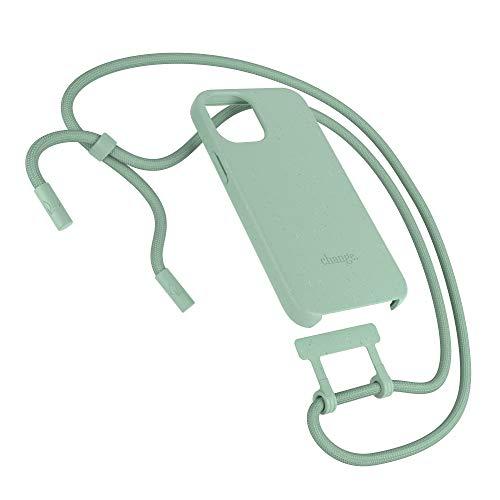 Woodcessories - Nachhaltige Handykette abnehmbar kompatibel mit iPhone 12 Hülle mit Band Mint, iPhone 12 Pro Hülle mit Band Mint - antibakteriell, kompostierbar