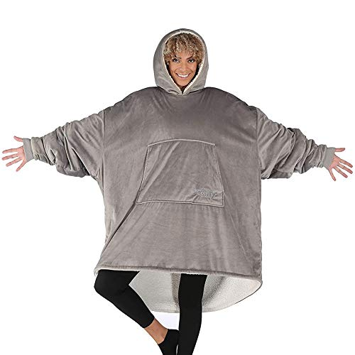 THE COMFY ORIGINAL | Oversized Microfiber & Sherpa Wearable Blanket, Seen On Shark Tank One Size Fits All Gray