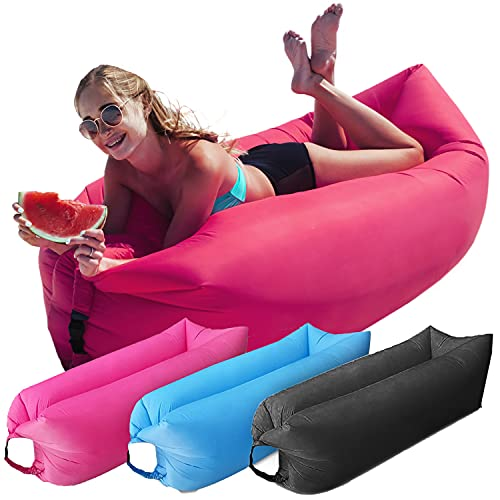 Instant Inflatable Lounger Portable Air Sofa Hammock Couch in a Pouch Lounge Chair Anti Air Leak Waterproof Relaxing Lounge Chair Perfect for Beach Parties, Outdoor Camping and Traveling (Pink)