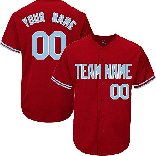 Scarlet Custom Baseball Jersey for Men Women Youth Button Down Embroidered Your Name & Numbers S-5XL image