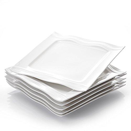 MALACASA, Serie Mario, 6 teilig Set Cremeweiß Porzellan Kuchenteller Dessertteller Frühstücksteller für 6 Personen
