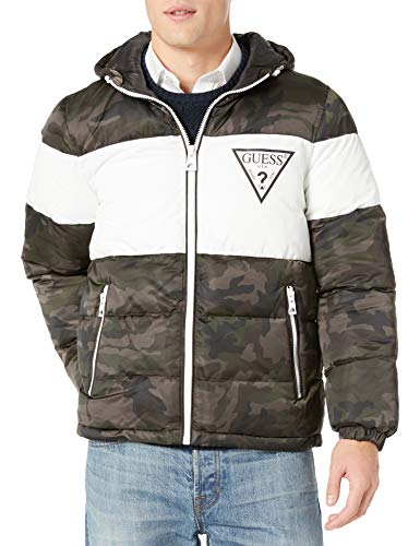 Guess Herren Color Block Puffer with Triangle Print Jacke, camouflage, Large