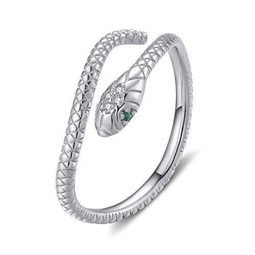 Qings Anillo Ajustable Serpiente Plata de Ley 925 Mujer Anillo Abiertos Vintage Silver Snake Ring Anillo Retro con Circonita Verde Serpiente Joyas para Mujer