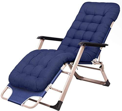 Chaise longue pliante Office Life pour le camping et les loisirs Chaise de jardin inclinable Transat avec appui-tête Cadre de camping bleu foncé Structure en acier, gris, Nom de la taille: Bleu (Ta