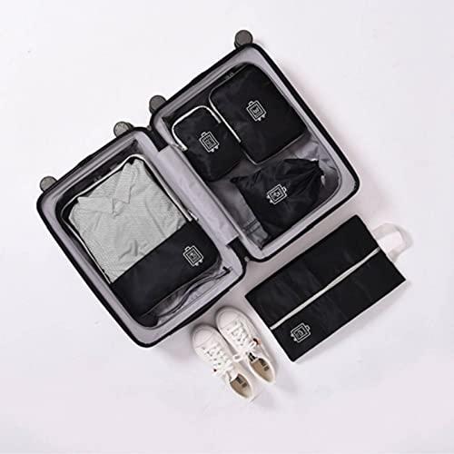 N\C Cubo de empaquetado impermeable de la ropa del poliéster, 5 PC/set bolsa de almacenamiento del viaje, conjunto del almacenamiento del equipaje, almacenamiento ligero multifuncional