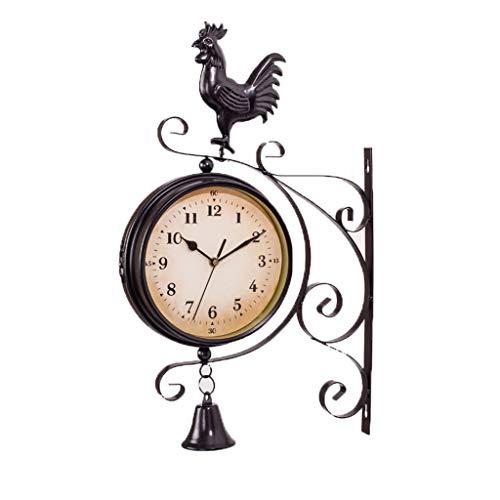 Reloj de Pared de Doble Cara de Hierro Forjado Europeo Bell Jardín Creativo Reloj de Pared Moderno Salón Reloj de Pared Dormitorio Reloj de Pared silencioso 38 cm (Color : B)
