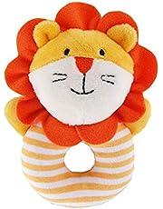 YeahiBaby Sonajero de mano suave para bebé, para muñeca y pie, juguete educativo de algodón y león de peluche para niños pequeños