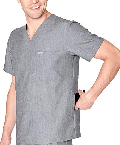 FIGS Medical Scrubs Men's Chisec Three Pocket Top (Graphite, M)
