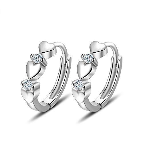 ELEGANCE PARISIENNE Modische Ohrringe Creolen Herzen | 18k Weißgold vergoldet | Für Frauen Damen Kinder Mädchen | Glitzer Strass Herzchen
