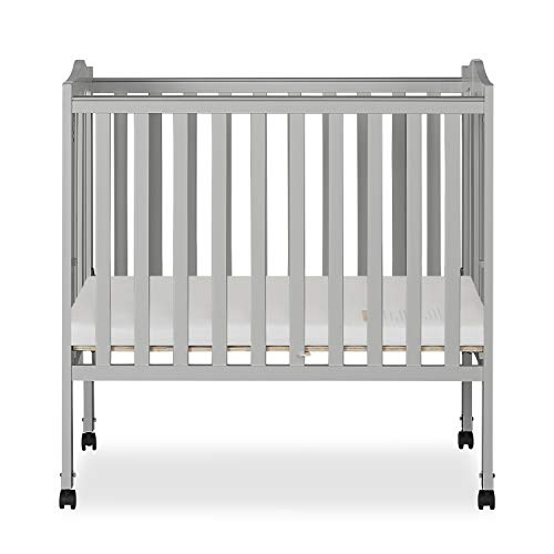 Dream On Me 2 in 1 Lightweight Folding Portable Crib, Pebble Grey