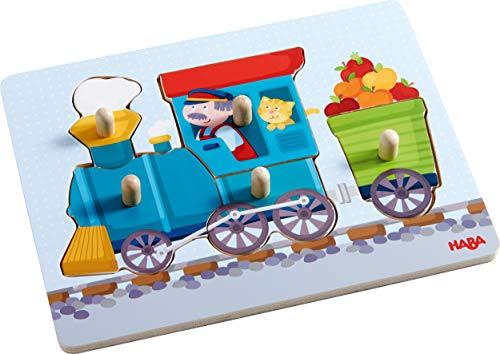 HABA 302537 - Greifpuzzle Eisenbahn, 5-teiliges Holzpuzzle mit Eisenbahnmotiv und großen Holzknöpfen zum Greifen, Holzspielzeug ab 12 Monaten
