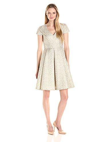 Eliza J Women's Fit and Flare Jacquard Dress with V-Neckline, Gold, 6